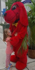 Emma with Clifford at the Miami Book Fair